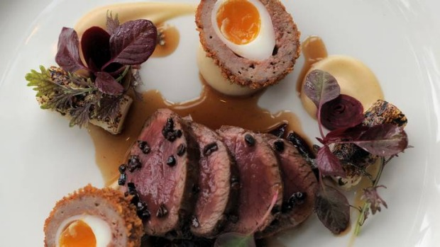 Loin of venison with venison scotch egg and  braised red cabbage at Aubergine, Canberra's best.