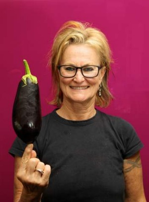 Well-travelled … chef Christine Manfield with an aubergine.