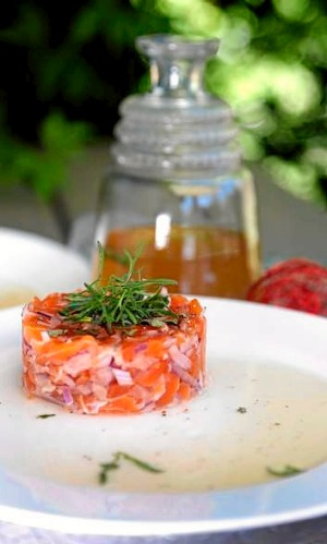 Ocean Trout Tartare in Tomato Tea.