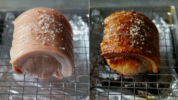 Before and after ... Johnnie Mountain's perfect pork crackling.
