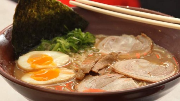 Popular broth ... Tonkotsu ramen at Gumshara in the Eating World food court, Haymarket.