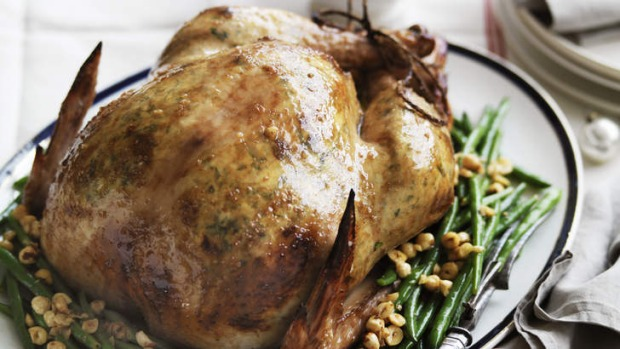 Family feast ... Roast turkey with a side of green beans and hazelnuts.