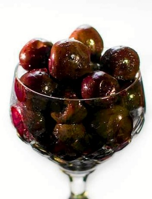 Gin-macerated cherries, great in stuffing for roast goose.