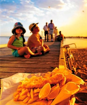 Fish and chips at the beach.