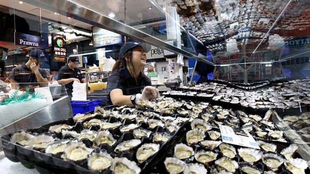 Christmas favourite ... Sydney rock oysters at Christie's Seafood.