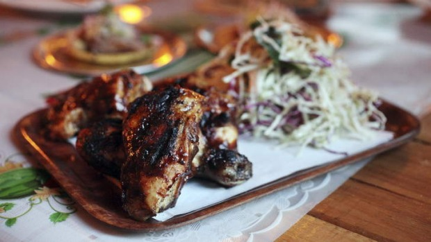 The barbecue jerk chicken.
