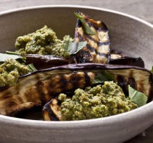 Eggplant with Sicilian pesto (find the recipe in our eggplant collection, link below).