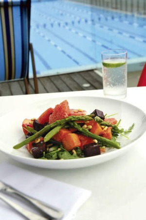 Roast beetroot, pumpkin and asparagus salad with toasted pinenuts and grapefruit vinaigrette at the Poolside Cafe, Sydney.