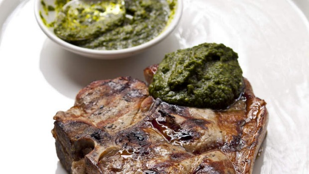 A good sauce can make a meal: Frank Camorra's mojo verde with grilled pork cutlet.