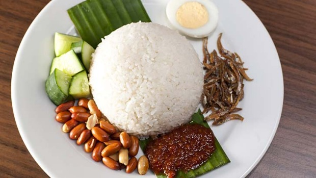 Nasi lemak served with an addictive hit of sambal.
