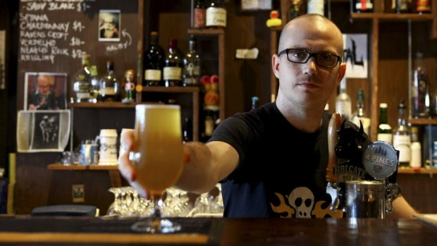 Boutique beers ... Co-owner Benjamin Nichols on the job at Scratch Bar in Milton.