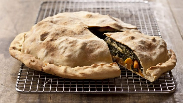Sweet potato and Swiss chard pie with olive oil pastry.