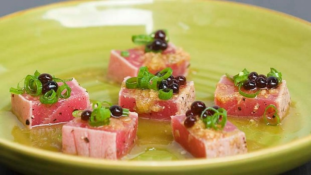 The menu ... Tuna tataki at Social Eating House & Bar.