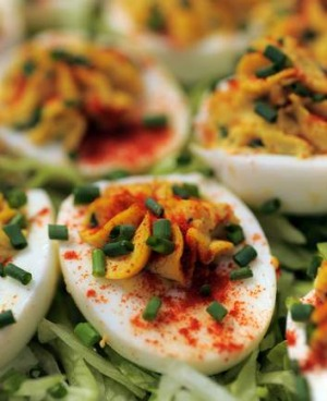 Diana Lampe's stuffed curried eggs are perfect picnic fare.