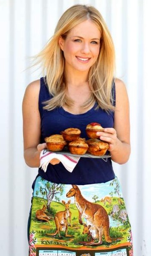 Kate Gibbs with her Aussie pies.