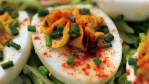 Diana Lampe's stuffed curried eggs.