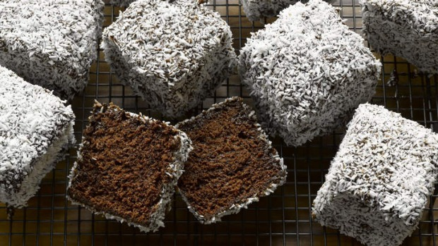 Australian classic with a twist ... Dan Lepard's double-chocolate lamingtons include a 'sacreligious' addition of cocoa ...