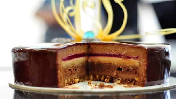 Six layers of heaven ... the 'Great Berrier Crunch' chocolate cake by Team Pastry Australia.