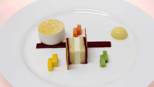 Passionfruit and vanilla pavlova with exotic fruits ... dessert plate by Barry Jones from Team Pastry Australia.