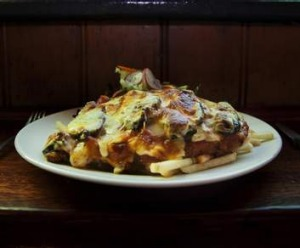 The Napier Hotel's parma is topped with slices of kangaroo fillet.