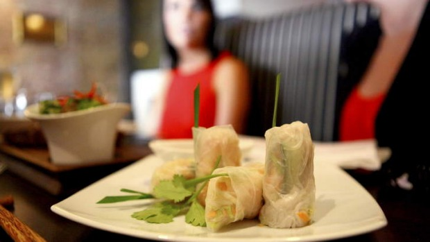The king prawn and chicken rice paper rolls at Birdcage.