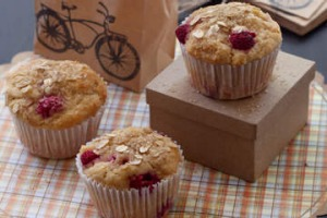 Raspberry and pear muffins.