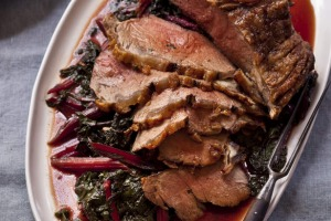 Karen Martini's take on roast beef, served with braised rainbow chard scented with cinnamon.