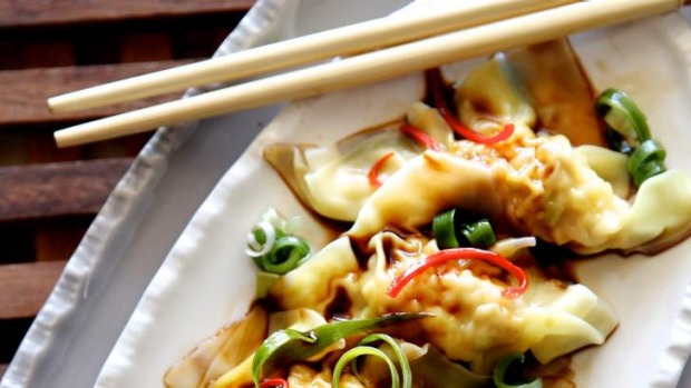 Dumplings with black rice vinegar.