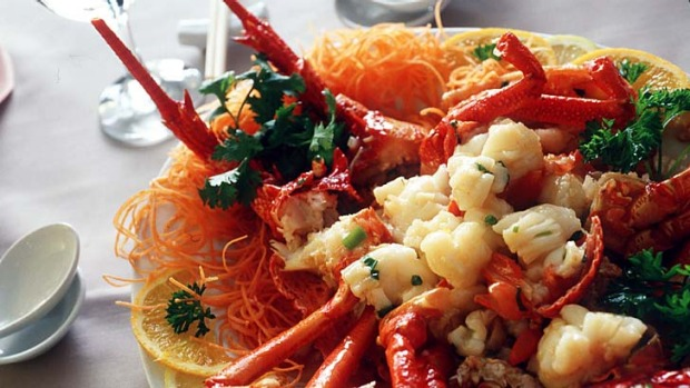 Dragon of the sea ... lobster dish, symbolising strength and good fortune, from Sea Treasure, Crows Nest.