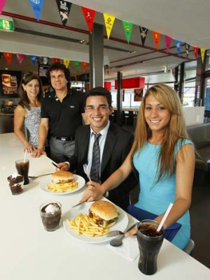 Katia and Glenn Dwarte help James Dwarte and Renee Rodrigues dine in style at Warilla.