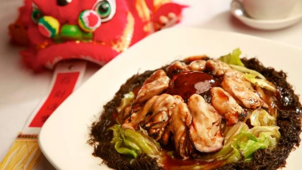 Get rich quick? This New Year's dish of stewed dried oysters, fat choy and lettuce is considered to bring wealth.