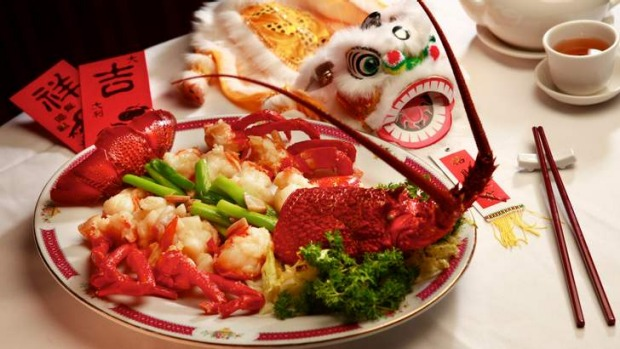 Red Emperor's dish of lobster with ginger and spring onion for Chinese New Year.