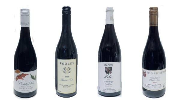 From left: De Bortoli Windy Peak Pinot Noir Yarra Valley 2011, Pooley Pinot Noir Coal River Valley 2011, Weingut ...