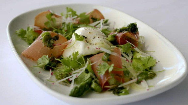 Velero's (Woolloomooloo)version of poached egg and jamon sits on a salad of baby cress.