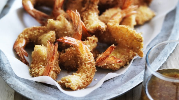 Panko breadcrumbs lend these prawns a really great crunch.