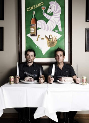 Bring it on ... Buzo's Todd Garratt and James Hird are opening a French brasserie, Vincent.