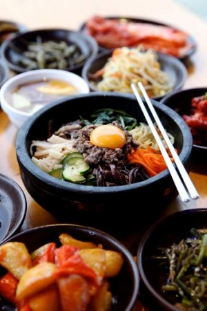 Love at first bite ... crunchy and tasty, bibimbap arrives at the table sizzling.