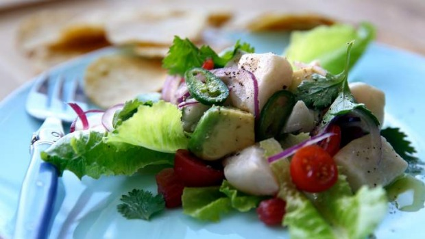 Ceviche with coconut.