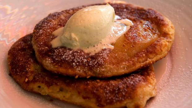 Myrtleford buttermilk pancakes with banana, salted peanut praline, whipped  mascarpone and Canadian maple syrup.