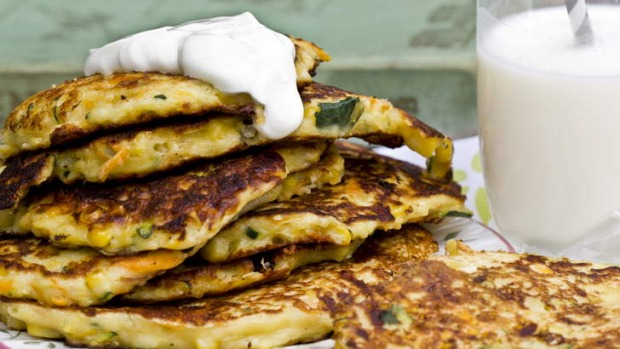 Fruit and vegetable pancakes.