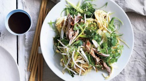 Neil Perry's egg noodle salad with barbecue duck and hoisin dressing.