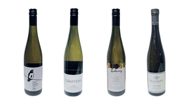From left: Logan Weemala Riesling 2012, Charteris The Hunt Vineyard Riesling Bannockburn 2012, Leo Buring Leonay DW118 ...