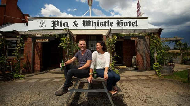 Brendan and Jasmine Hynes, publicans of the Pig and Whistle Hotel in Trentham East, one of many Victorian country pubs ...