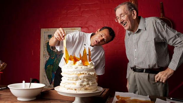 Let them eat cake … chef Martin Teplitzky making Gretta Anna's Mile High Pavlova while his father, David ...