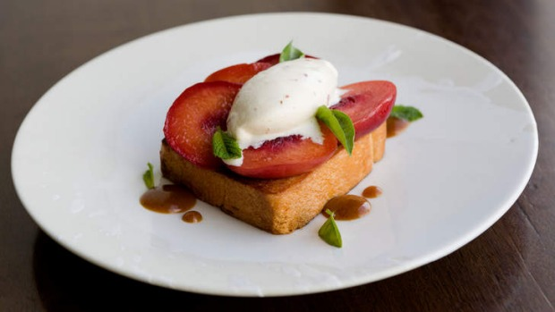 Roasted nectarine on brioche with bacon ice-cream.