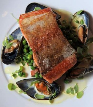 Pan-fried ocean trout, green pea and bacon, saffron mussels at Konoba.
