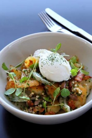 Hot order ... pork hock hash with poached egg.