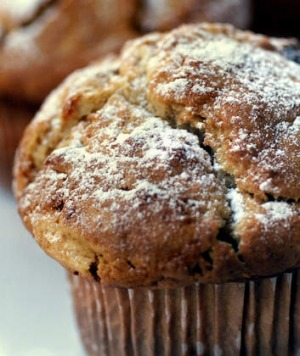 Create crunch in muffins with added sugar, butter and quicker baking.