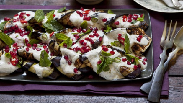 Grilled eggplant with tahini and yoghurt dressing Recipe ...
