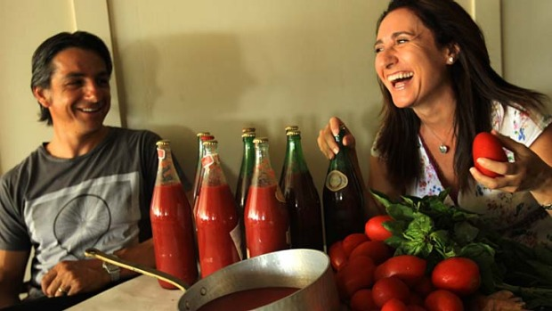 An annual production ... Marilyn Annecchini and Giovanni Pilu make enough passata for two and a half families.